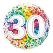 """palloncino 18"""" mylar Rainbow Confetti 30 anni"""