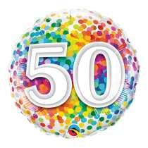 """palloncino 18"""" mylar Rainbow Confetti 50 anni"""