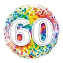 """palloncino 18"""" mylar Rainbow Confetti 60 anni"""