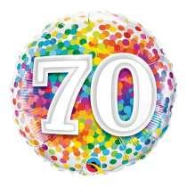"""palloncino 18"""" mylar Rainbow Confetti 70 anni"""