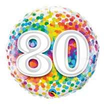 """palloncino 18"""" mylar Rainbow Confetti 80 anni"""