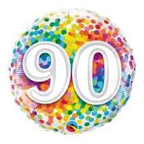 """palloncino 18"""" mylar Rainbow Confetti 90 anni"""