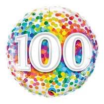 """palloncino 18"""" mylar Rainbow Confetti 100 anni"""