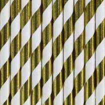 Cannucce Spiral Metallic Oro/Bianco 10pz