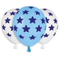 Palloncino AS50 199 Bianco e Celeste stelle blu 100pz