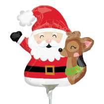 Palloncino Mini Shape mylar Santa & Reindeer