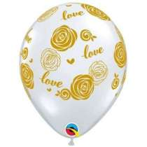 """Palloncino 11"""" Love & Roses Gold 25pz"""