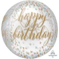 Palloncino Orbz Happy Birthday Gold & Pastel