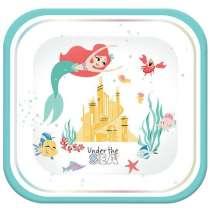 """Piatto Quadrato """"Ariel Under The Sea"""" 4pz"""