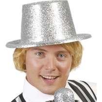 Cappello Cilindro Alto Glitter Argento 1pz